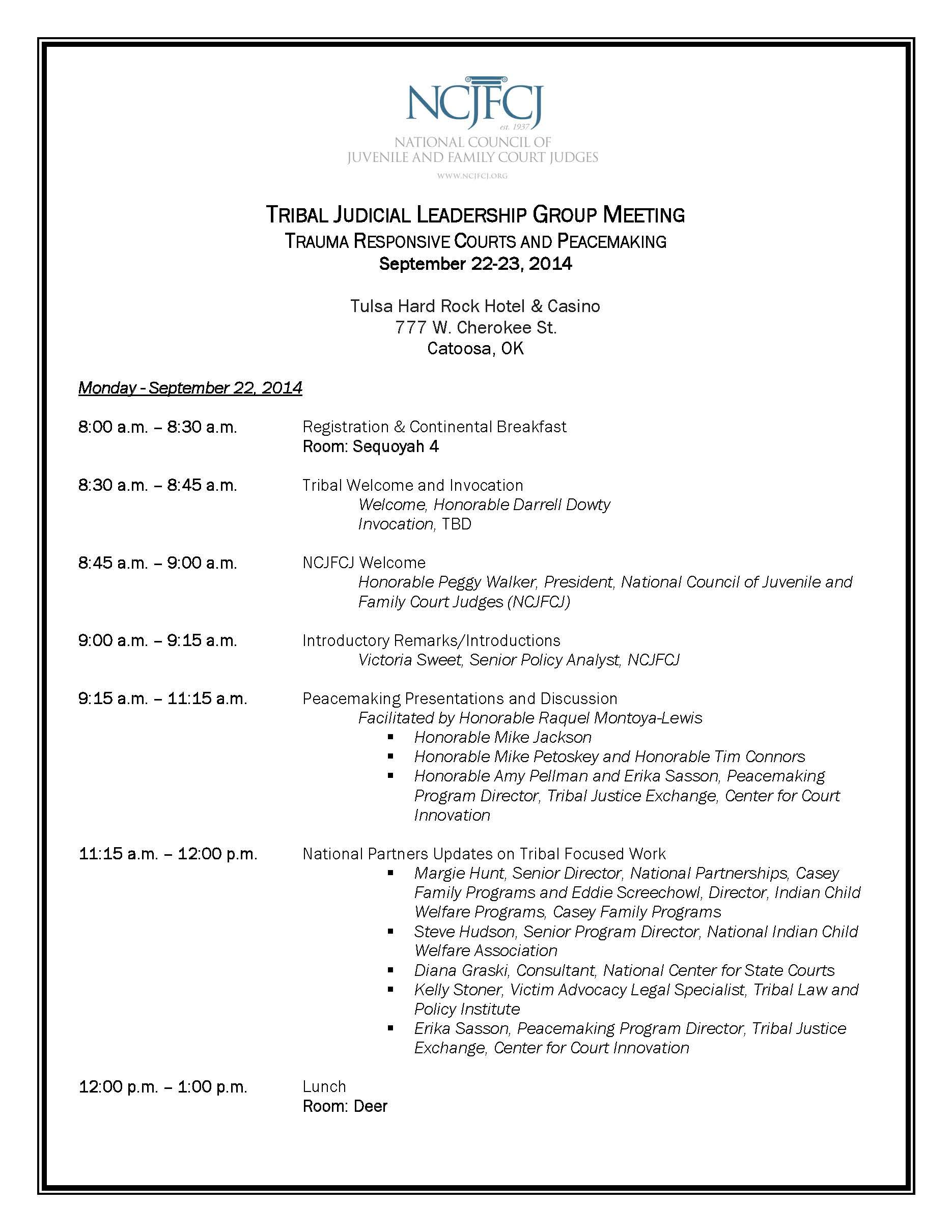 final agenda  u2013 tribal judicial leadership group meeting