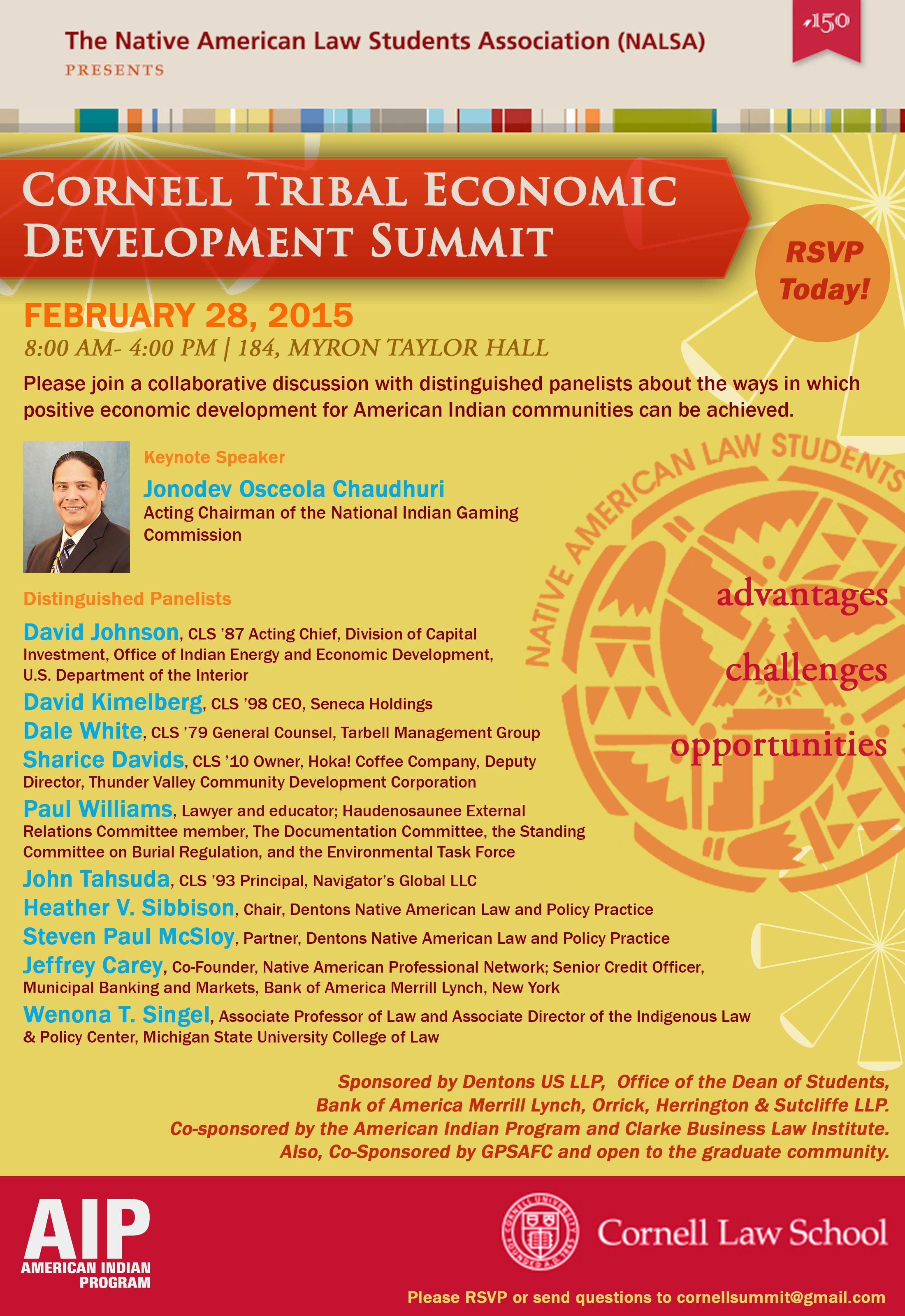 Cornell Tribal Economic Development Summit Poster