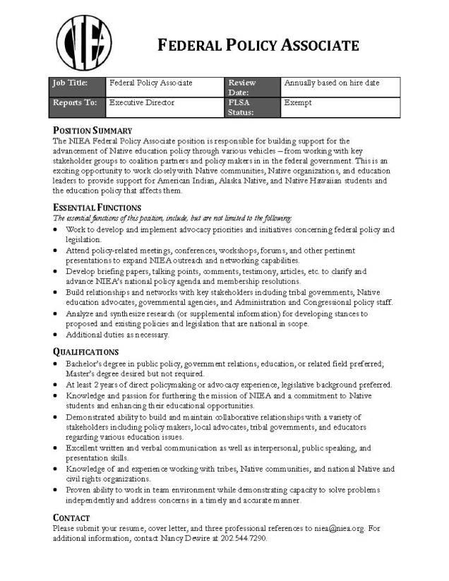 NIEA - Job Description - Federal Policy