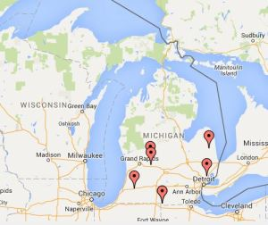 Map of Michigan public high schools using Redskins name