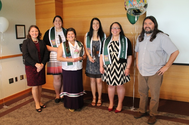 Professors Wenona Singel and Matthew Fletcher with 2016 graduates Whitney Gravelle, Elise-McGowan-Cuellar, Samantha Smith, and Lauren Spencer.