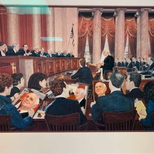 Lithograph representing Reid Chamber's oral arguement in March 2003 before the Supreme Court in Inyo County v. Paiute Shoshone Tribe