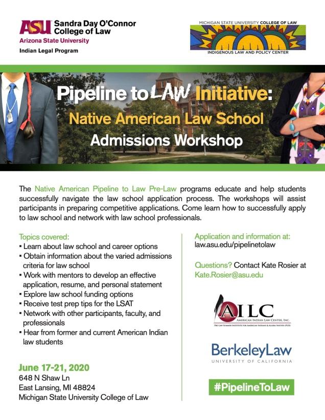 Pipeline To Law Workshop 2020 flyer
