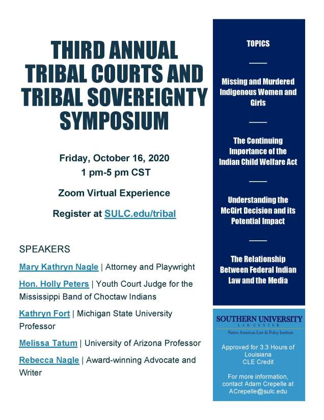 Tribal Courts and Tribal Sovereignty Symposium--Flyer
